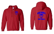 CURVED RED REGULAR FULL ZIP HOODIE SWEATSHIRT