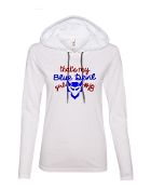 BLUE DEVIL GIRL WHITE LONG SLEEVE TEE W/HOOD