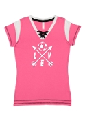 """LOVE"" PINK LACE UP JERSEY"