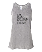 EAT SLEEP GREY FLOWY TANK TOP